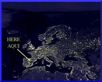 Night image of Europe with my location/imagen nocturna de Europa con mi situación